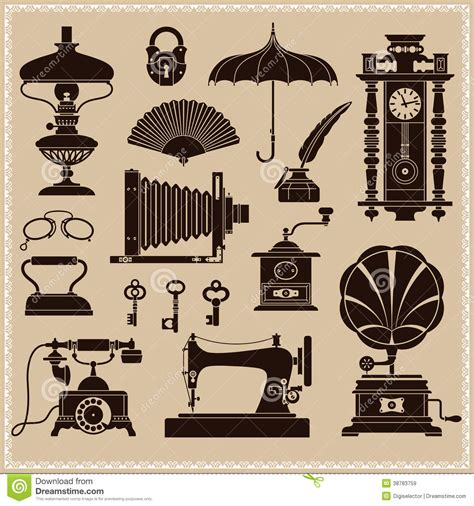 Vintage Ephemera And Objects Of Old Era Stock Vector ...