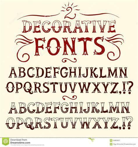 Vintage Hand Written Fonts Set Stock Illustration ...