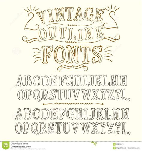Vintage Hand Written Vector Fonts Set Stock Illustration ...