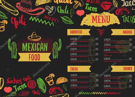 Vintage Mexican Food menu with lettering. Mexican food ...