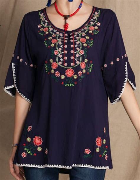 Vintage mexicano Floral bordado camisas casuales ropa ...