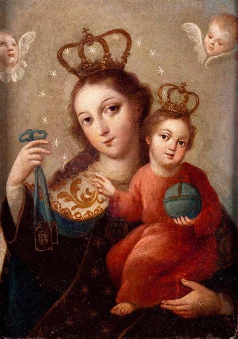Virgen del Carmen ESCUELA MEXICANA S. XVIII (Óleo sobre ...