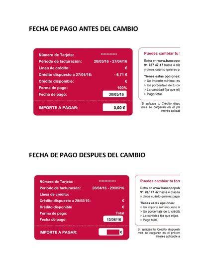 Visa Oro bancopopular e cambio unilateral de fecha de pago ...