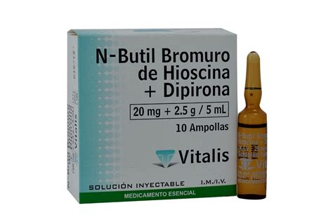 VITALIS   HIOSCINA   DIPIRONA 20MG 2.5G/5ML X 10 AMPOLLAS