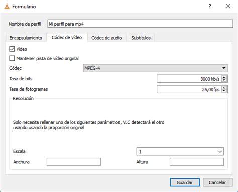 VLC Convertir a mp4 Crear nuevo perfil de conversion Codec ...