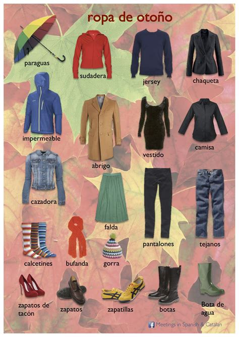 Vocabulario   ROPA DE OTOÑO | la ropa | Pinterest | Ropa ...