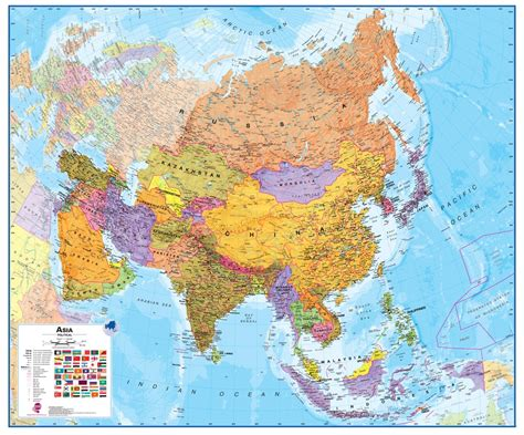 Wall Map of Asia - Large Laminated Political Map