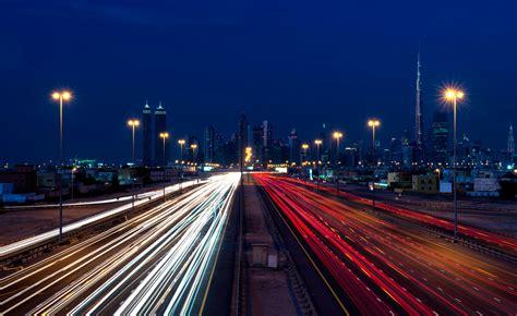 Wallpaper Dubai, Traffic, Nightscape, 4K, World, #2242