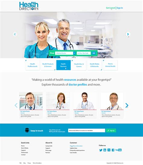 Website Design for a Doctors directory company on Behance