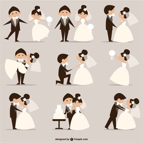 Wedding Pictures, Newly Married Couples Vector ...