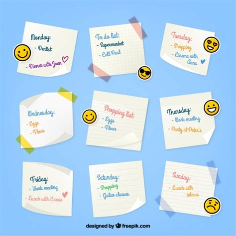 Weekly organizer with emoticons Vector | Free Download