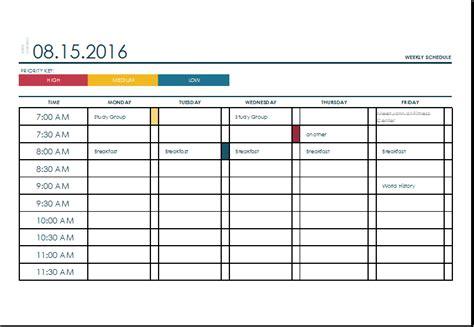 Weekly Schedule Template Excel | eskindria.com