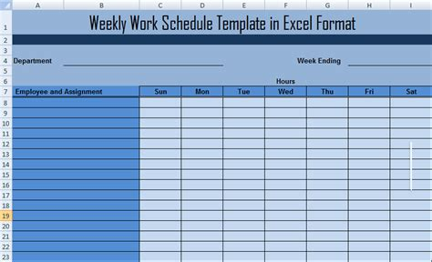 Weekly Work Schedule Template in Excel Format ...