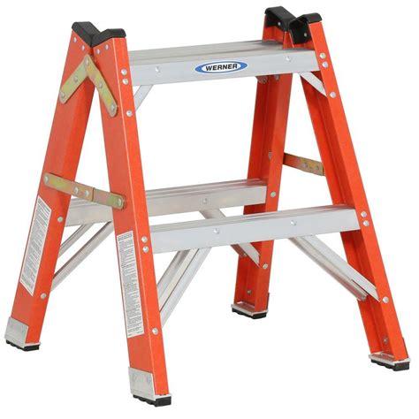 Werner 2 ft. Fiberglass Twin Step Ladder with 300 lb. Load ...