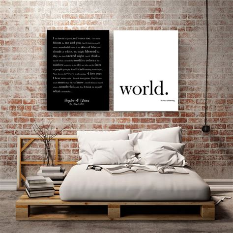 WHAT a wonderful WORLD Canvas set Personalized Song Lyrics