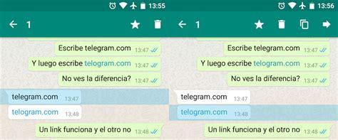 Whatsapp censura todos los mensajes con links de Telegram