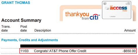 When will the $650 Statement Credit Post for the Citi AT&T ...