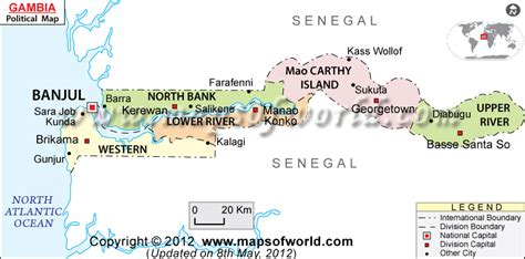 Where is Gambia Located? Location map of Gambia