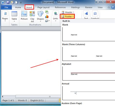 Where is the Footer in Microsoft Word 2007, 2010, 2013 and ...