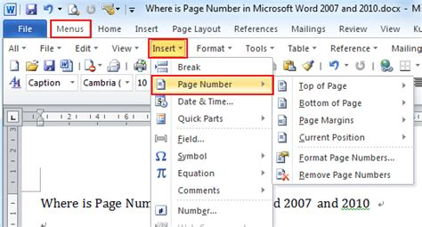Where is the Page Number in Microsoft Word 2007, 2010 ...