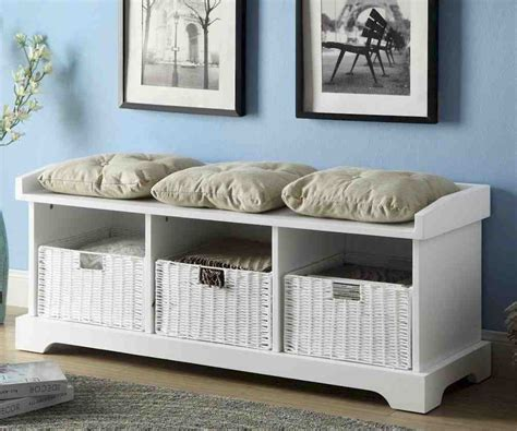 White Wood Storage Bench   Home Furniture Design