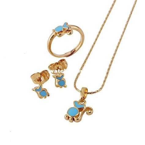 Wholesale-Baby Girls Jewelry Sets18K Gold Plated Kids Ring ...