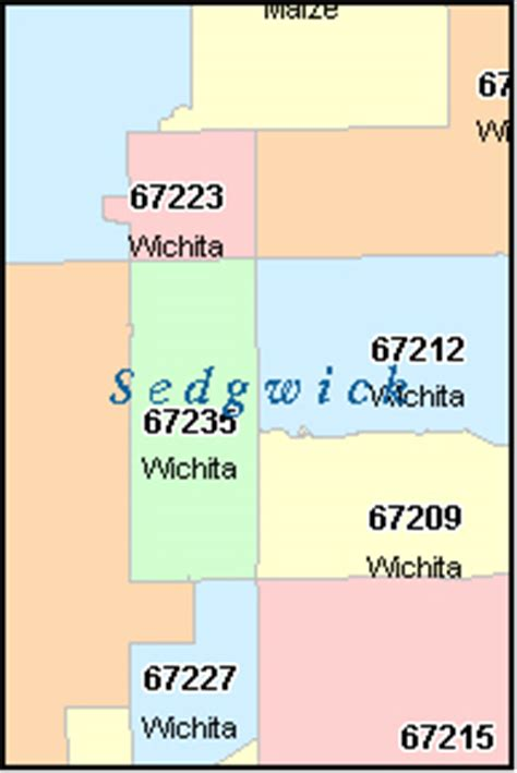 WICHITA Kansas, KS ZIP Code Map Downloads