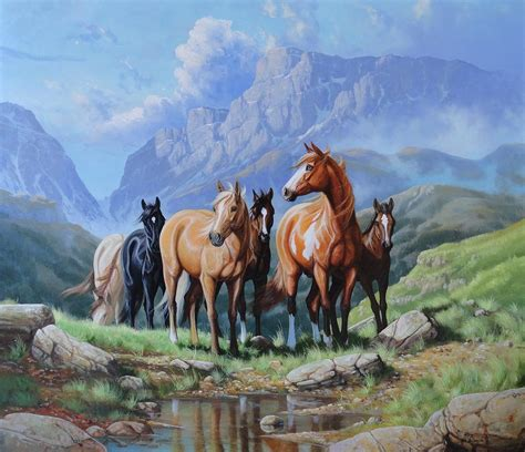 Wild Horses Painting by Roberto Bianchi