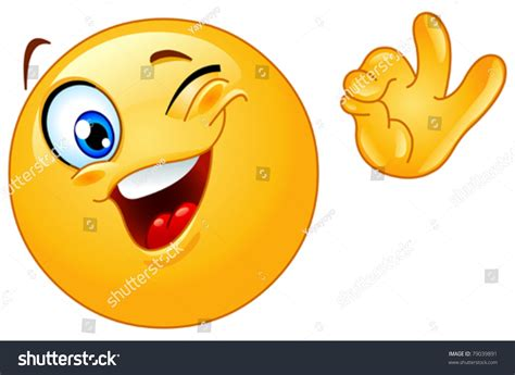 Winking Emoticon Showing Ok Sign Stock Vector 79039891 ...
