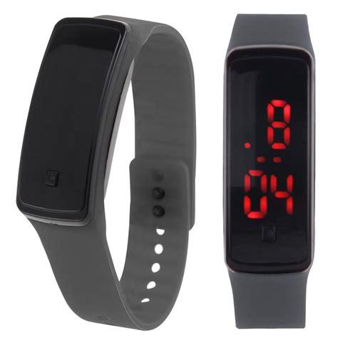 Womens Mens Silicone Band Digital LED Bracelet Wristwatch ...