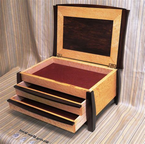 Wooden Jewelry Box With Drawers   Caymancode