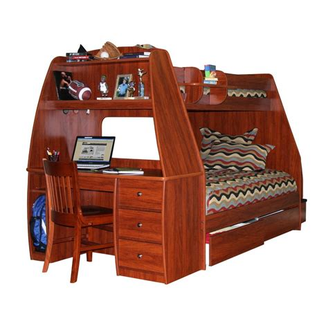 Wooden Twin Over Full Bunk Bed With Drawers Storage ...