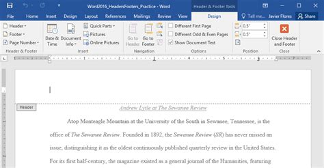 Word 2016: Headers and Footers - Full Page
