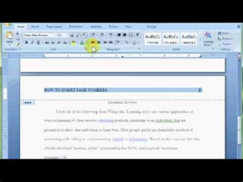 Word: Insert Page Numbers and Change Header - YouTube