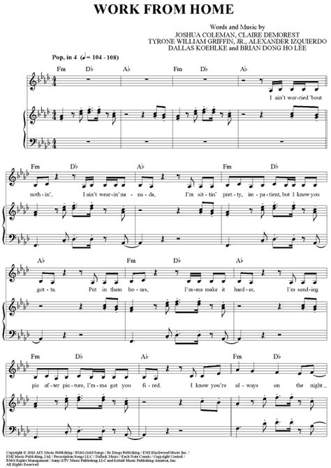 Work From Home Sheet Music - Music for Piano and More ...