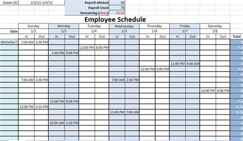 Work Schedule Format In Excel