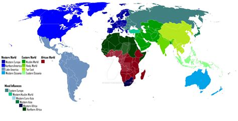 World cultures map western world eastern world by Saint ...