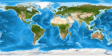 World Satellite Image Giclee Print Enhanced Physical