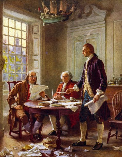 Writing The Declaration Of Independence, 1776, Painting by ...