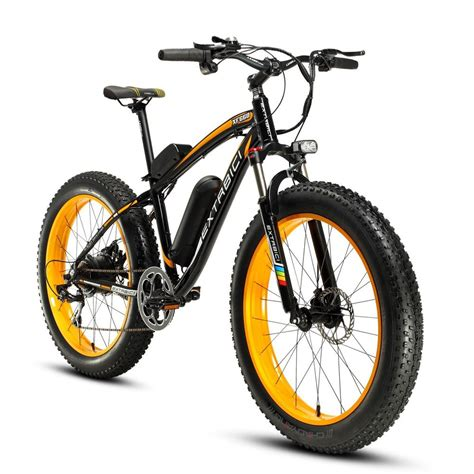 Yellow Black 500W 48V Mens Mountain Bike Fat Tire Electric ...