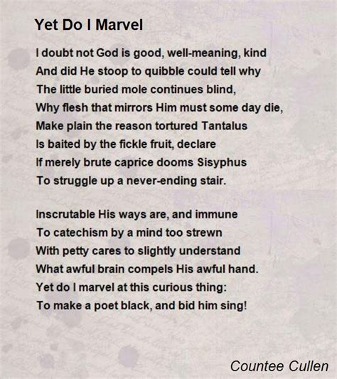 Yet Do I Marvel Poem by Countee Cullen - Poem Hunter