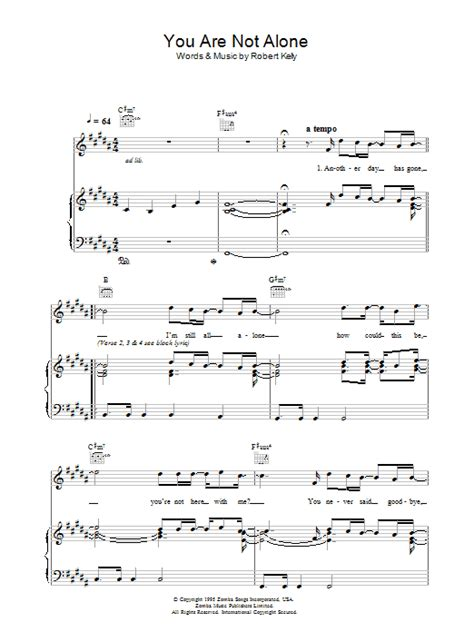 You Are Not Alone | Sheet Music Direct