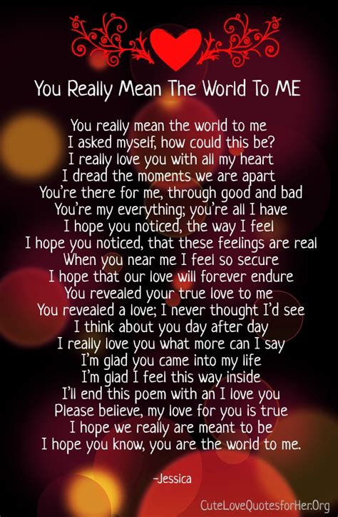 you mean so much to me poems | Cute Love Poems for Her ...