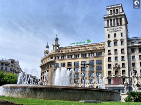 You must see Plaza De Cataluna Fountains Running And Banco ...