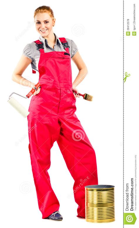 Young Woman In Red Overalls With Painting Tools Royalty ...