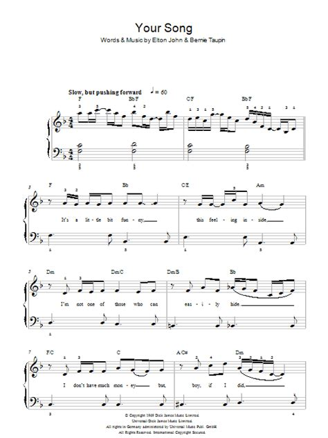 Your Song | Sheet Music Direct