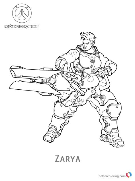 Zarya from Overwatch Coloring Pages   Free Printable ...