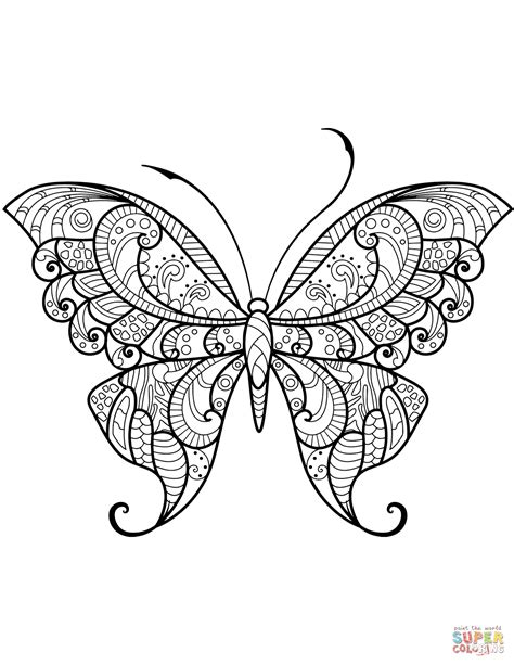 Zentangle Butterfly coloring page | Free Printable ...