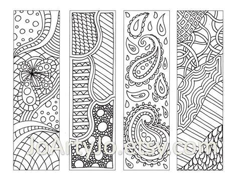 Zentangle Inspired Bookmarks, Printable Coloring, Digital ...
