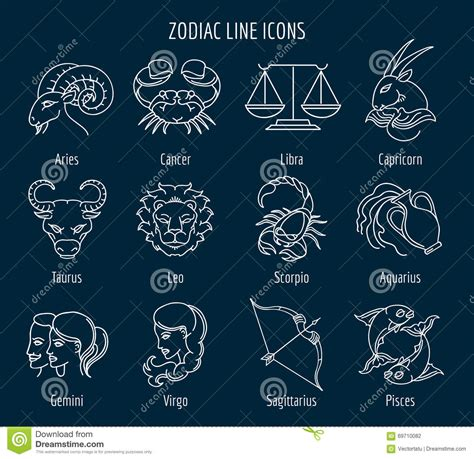 Zodiac line icons stock vector. Illustration of libra ...